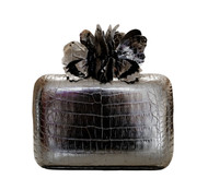 Nancy Gonzalez Anthracite Butterfly Clutch