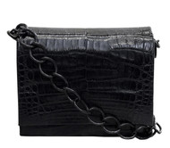 Nancy Gonzalez Black Gio Crocodile Chain Crossbody Bag