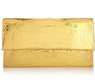 Nancy Gonzalez Gold Crocodile Envelope Clutch