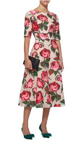 Lela Rose Embroidered Floral Fil Coupé Midi Dress