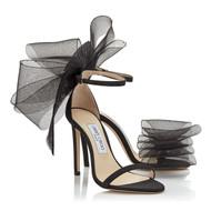 Jimmy Choo Aveline 100 Sandal with Asymmetric Grosgrain Mesh Fascinator Bows