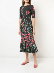 Carolina Herrera Floral-Print Trumpet Dress