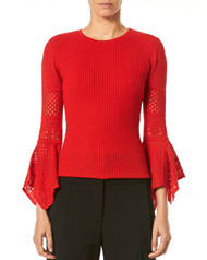 Carolina Herrera Red Pointelle-Lace Knit Sweater