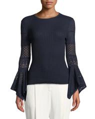 Carolina Herrera Midnight Pointelle-Lace Knit Sweater