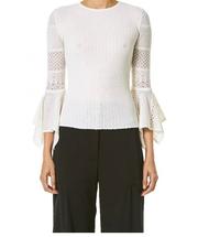 Carolina Herrera White Pointelle-Lace Knit Sweater