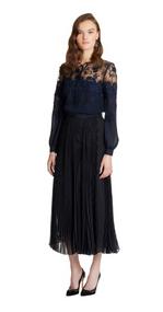 Oscar de la Renta Silk Georgette Pleated A-Line Skirt