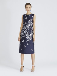 Oscar de la Renta Leaves and Berries Jacquard Pencil Dress