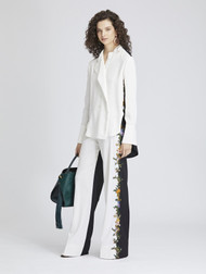 Oscar de la Renta Embroidered Garbardine Pants