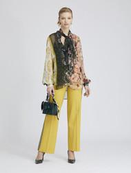 Oscar de la Renta Patchwork Stripe Silk-Chiffon Blouse