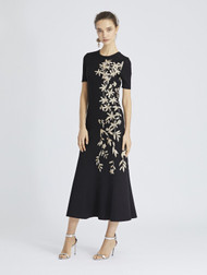 Oscar de la Renta Metallic Floral Knit Dress