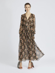 Oscar de la Renta Tapestry Floral Silk-Chiffon Wrap Dress