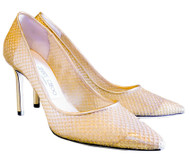 Jimmy Choo Romy 85 Patent Mesh Pumps in Gold