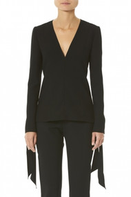 Carolina Herrera Tie Cuff Blouse In Black