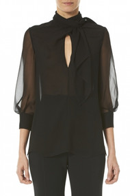Carolina Herrera Black Silk Blouse