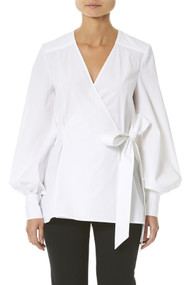Carolina Herrera White Wrap Blouse