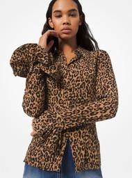 Michael Kors Leopard Print Silk Blouse