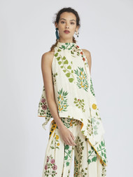 Oscar de la Renta Botanical Asymmetric Silk Blouse