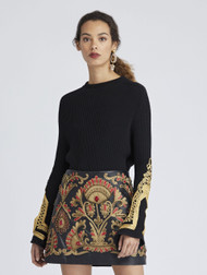 Oscar de la Renta Embroidered Wool Pullover