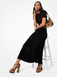 Michael Kors Metallic Pleated Midi Skirt