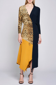 Cushnie Leopard Color Block Silk Dress