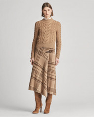 Ralph Lauren Collection Suede-Laced Mockneck Sweater