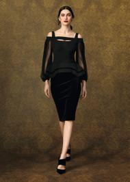 Chiara Boni La Petite Robe Drina Velvet Illusion Gown