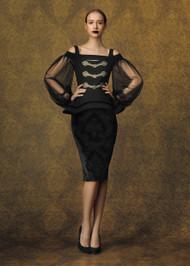 Chiara Boni La Petite Robe Drina Print Velvet Illusion Gown