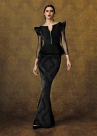 Chiara Boni La Petite Robe Kizza Velvet Illusion Gown in Hermitage