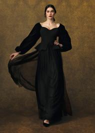 Chiara Boni La Petite Robe Ariadna Velvet Gown in Golden Fan Print