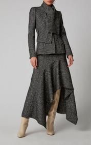 Oscar de la Renta Ruffled Herringbone Silk-Wool Midi Skirt