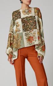 Oscar de la Renta Cropped Floral Print Silk Blouse