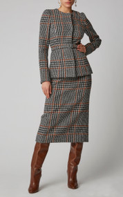 Oscar de la Renta Collarless Plaid Wool-Alpaca Blend Blazer