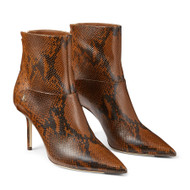 Jimmy Choo Beyla Snake Print Leather Ankle Booties