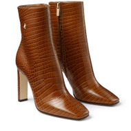 Jimmy Choo Minori Cuoio Croc Embossed Ankle Booties