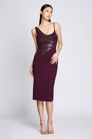 Cushnie Pencil Dress with Fractured Diamond Embroidery