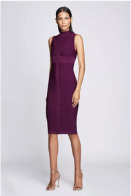 Cushnie Plum Mock Neck Knit Dress