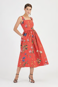 Oscar de la Renta Floral Printed Cotton Dress