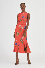 Oscar de la Renta Floral Cady Dress in Scarlett