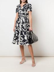 Oscar de la Renta Floral Pleated Dress