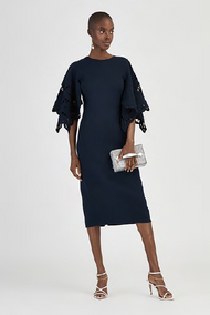 Oscar de la Renta Dress with Lace Blouson Sleeves
