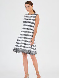 Oscar de la Renta Monochromatic Striped Dress
