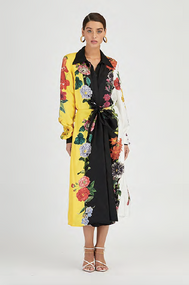 Oscar de la Renta Floral Silk-Twill Day Dress