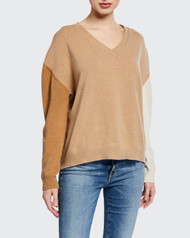 Majestic Filatures Colorblock  V-Neck Desert Sweater