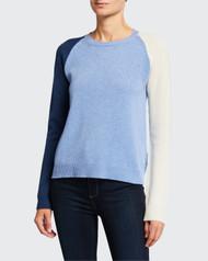 Majestic Filatures Colorblock V-Neck River Blue Sweater