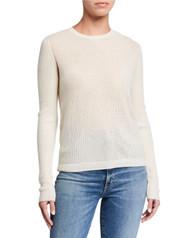 Majestic Filatures Cashmere Button Back Sweater in Milk
