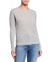 Majestic Filatures Cashmere Button Back Sweater in Grey