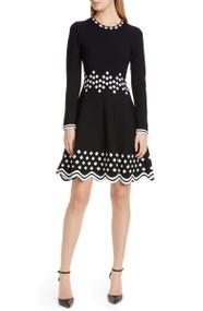 Lela Rose Diamond Jacquard Knit Dress
