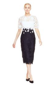 Lela Rose Lace Sheath Midi Dress