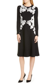 Lela Rose Embroidered Lace Midi Dress in Black/Ivory