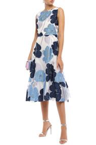 Lela Rose Floral Organza Sleeveless Midi Dress